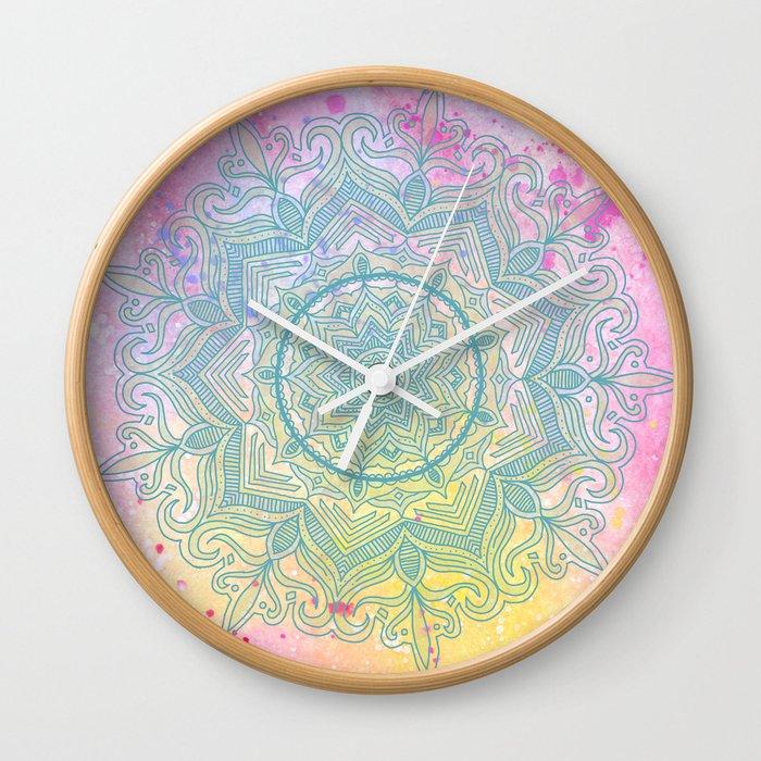 pink splash mandala Wall Clock