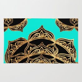 Gold Lace on Turquoise Rug