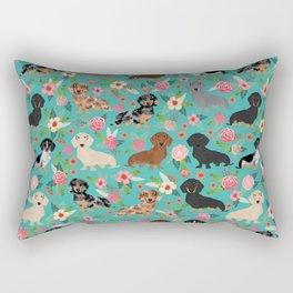 Dachshund florals flower pet portrait dog art dachsie doxie pet art dog breeds Rectangular Pillow