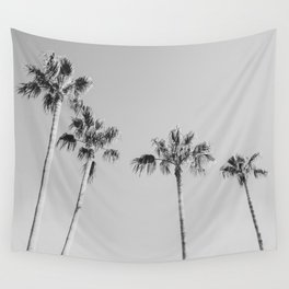 Black Palms // Monotone Gray Beach Photography Vintage Palm Tree Surfer Vibes Home Decor Wall Tapestry