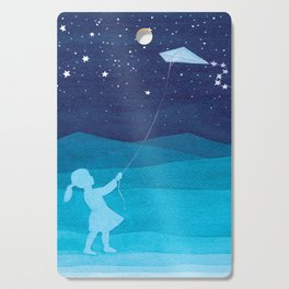 Girl with a kite, blue kids watercolor Cutting Board