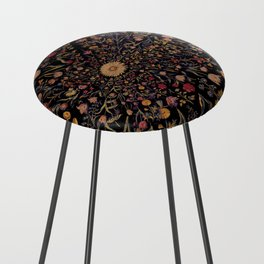 Medieval Flowers on Black Counter Stool