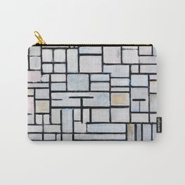 Mid Century Modern Abstract White and Pink and Baby Blue Piet Mondrian Composition 6 Carry-All Pouch