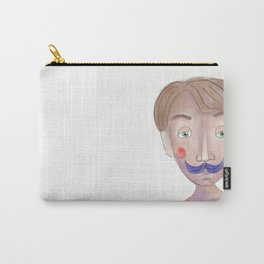 Cartoon Style Man - Mr blue moustasche Carry-All Pouch