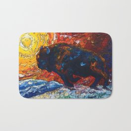 Bison Running print of OLena Art Wild the Storm Oil Painting With Palette Knife #society6 Bath Mat