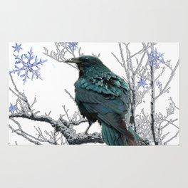 CROW/RAVEN IN WINTER TREE & SNOWFLAKES Rug