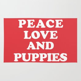 Peace love and puppies Rug