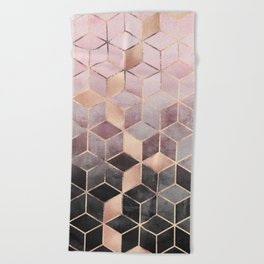 Pink And Grey Gradient Cubes Beach Towel