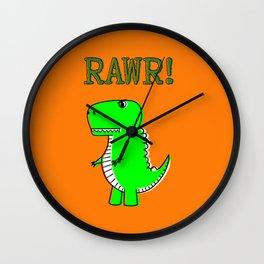 Cute And Angry Cartoon T-Rex Wall Clock