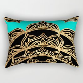 Gold Lace on Turquoise Rectangular Pillow