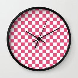 Small Checkered - White and Dark Pink Wall Clock