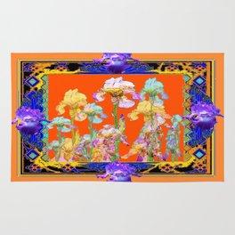 Ornate Cumin Color Purple Iris garden Design Rug