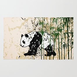 Abstract panda in bamboo forest Rug