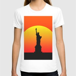 Sunset and liberty statue in New York T-shirt