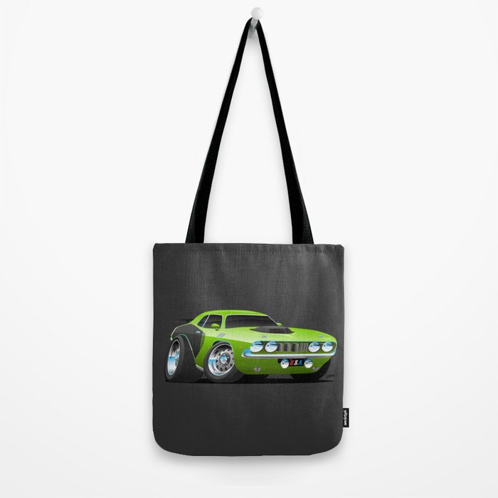 Classic Seventies Style American Muscle Car Cartoon Tote Bag
