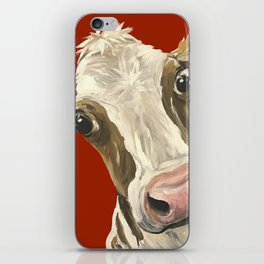 Cute Cow Painting, Red Cow Painting iPhone Skin