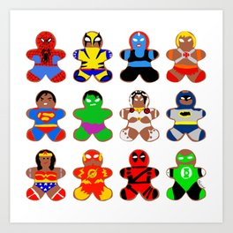 Superhero Gingerbread Man Art Print