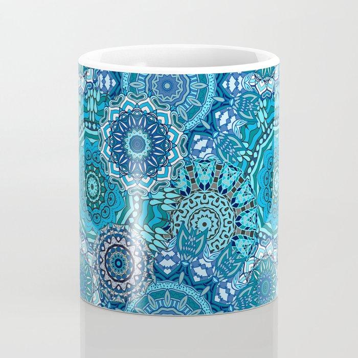 Blue Boho Mandela Pattern 5 Coffee Mug