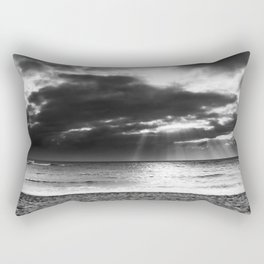 ray of sun over the beach at Kauai, Hawaii with cloudy sky in black and white Rectangular Pillow