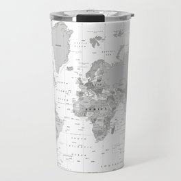 World Map [Black and White] Travel Mug