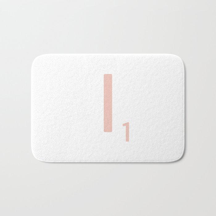 Pink Scrabble Letter I - Scrabble Tile Art and Accessories Bath Mat