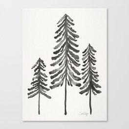 Pine Trees – Black Ink Canvas Print