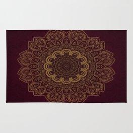 Gold Mandala on Royal Red Background Rug