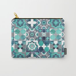 Spanish moroccan tiles inspiration // turquoise green silver lines Carry-All Pouch