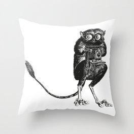 Say Cheese! | Tarsier with Vintage Camera | Black and White Throw Pillow