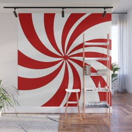 festive winter holiday candy land red and white lollipop candy swirls Wall Mural