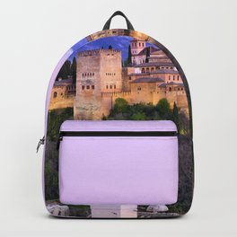 La Alhambra, Sierra Nevada and Granada. At pink sunset Backpack