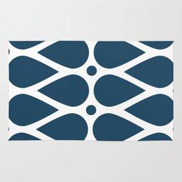 Geometric teardrop teal pattern Rug