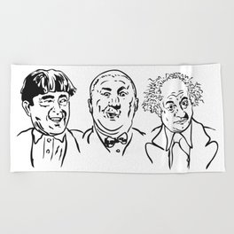 Stooges Moe, Curly and Larry Beach Towel