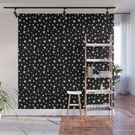 Mini Stars - White on Black Wall Mural