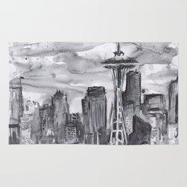Seattle Skyline Watercolor Space Needle Washington PNW Rug