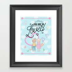 You are So Loved - Cute Fox and Cat Love Framed Art Print