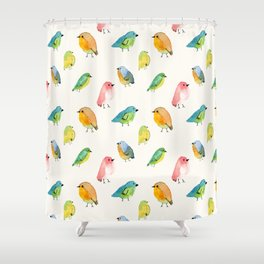 Watercolor Birds Pattern Shower Curtain
