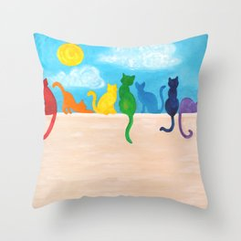 Catch A Rainbow - Cats on a Wall Throw Pillow