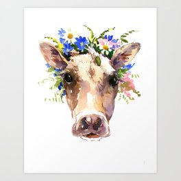 Cow Face Art Prints | Society6