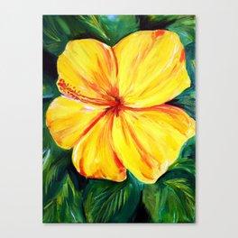 Aloha; Yellow Hibiscus Canvas Print