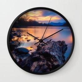 Glorious Sacramento River Sunset Wall Clock