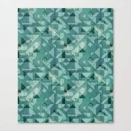 Green watercolor tangram triangle pattern Canvas Print