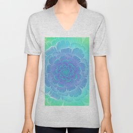 Romantic blue and green flower, digital abstracts Unisex V-Neck
