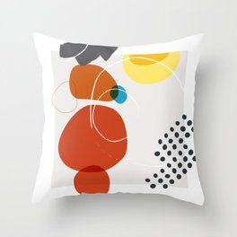 Shape & Hue Series No. 2 – Yellow, Orange & Blue Modern Abstract Throw Pillow