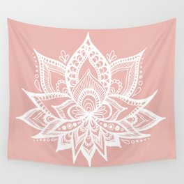 White Lotus Flower on Rose Gold Wall Tapestry