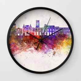 Saint Etienne skyline in watercolor background Wall Clock