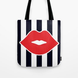 Red Lips with Stripes Tote Bag