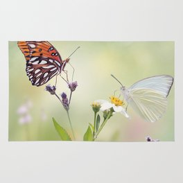 Gulf Fritillary and Great Southern White butterflies in a meadow Rug