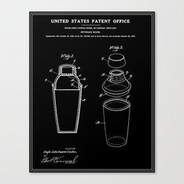 Cocktail Shaker Patent - Black Canvas Print