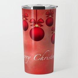 Merry Christmas Ornaments Bows and Ribbons - Red Travel Mug
